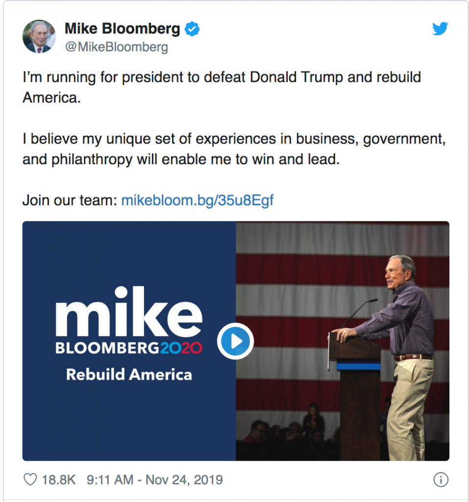 Mike Bloomberg launches campaign via Tweet